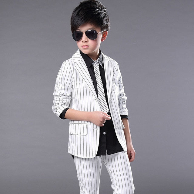 ActhInK Boys Formal Striped Tuxedo Suit | Wedding Formal Blazer Suits