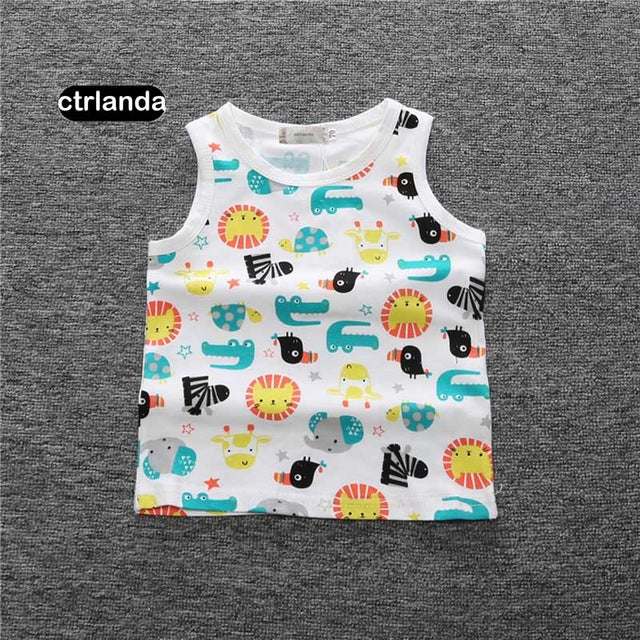 Children boys carton vest 1-4y cotton summer children clothing newborn gift fashion pattern camisoles Tanks kids sleeveless tops - KiddyLanes
