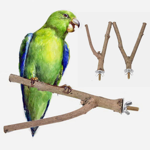 New Raw Wood Pet Parrot Stand Rack Toy Y Shape Branch Parakeet Budgie Hanging Perches Toy for Bird Cage - KiddyLanes