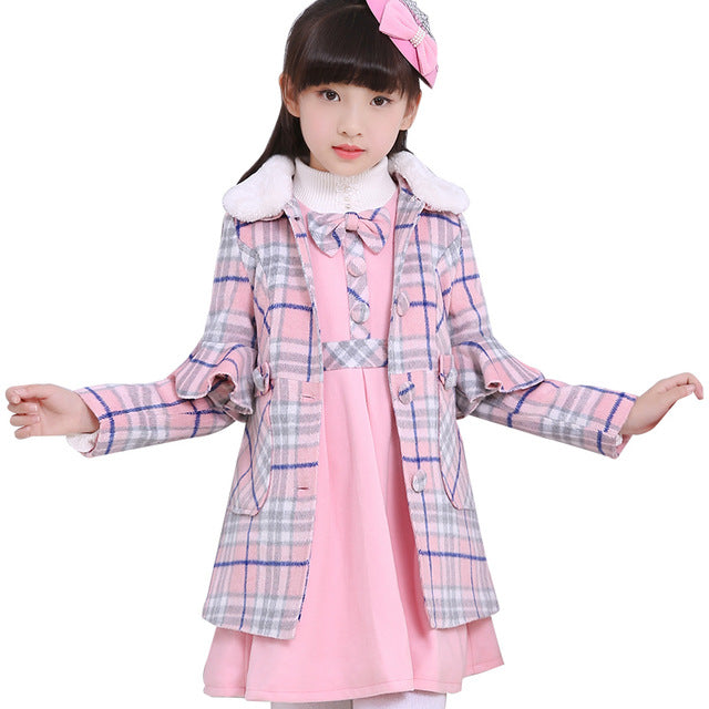 Girls winter 2pcs sets warm wool coats+dresses children clothing plaid padded overcoat kids fashion outwears elsa costumes - KiddyLanes