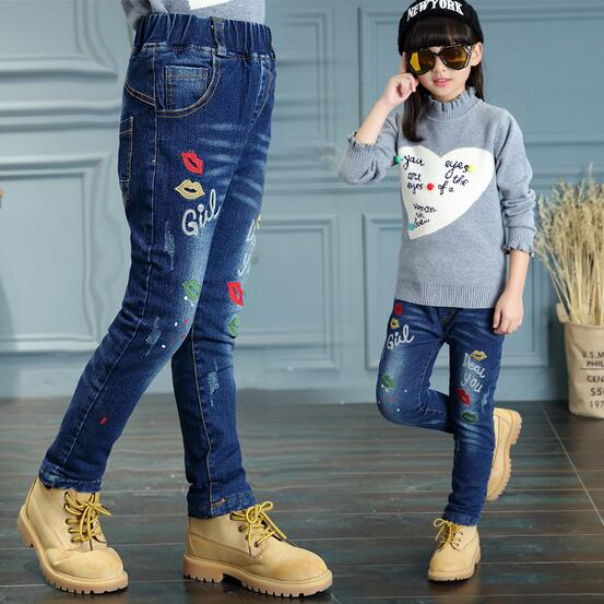 New Winter Kids Jeans Denim Girls Pants Pant Girl Baby Toddlers Cashmere Trouser Warm Pockets 4-15T Cowboy Chidren Clothing - KiddyLanes