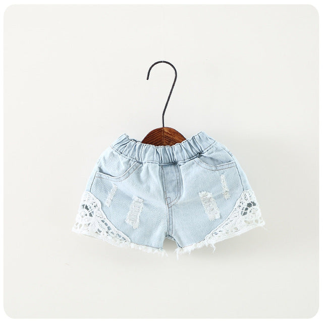 Kids Girls Shorts European Style Ripped Jeans Girl Leisure Loose Denim Pants Solid Kids Short Pants Children Clothing Lace 2-15T - KiddyLanes
