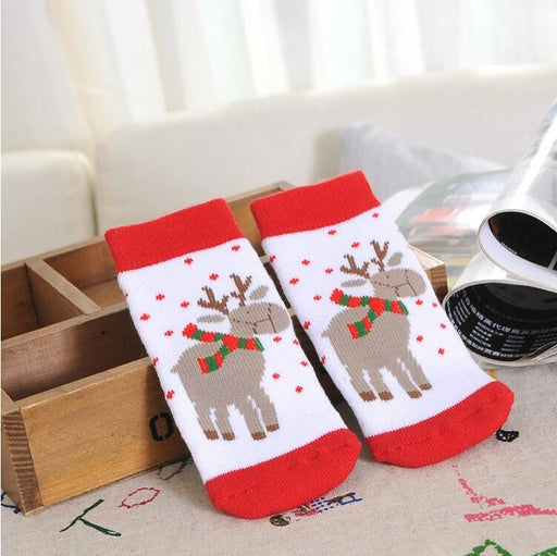 1 Pair Cotton Spring Winter Autumn Baby Girls Boys Kids Socks Children Striped Terry Snowflake Elk Santa Claus Christmas Bear - KiddyLanes