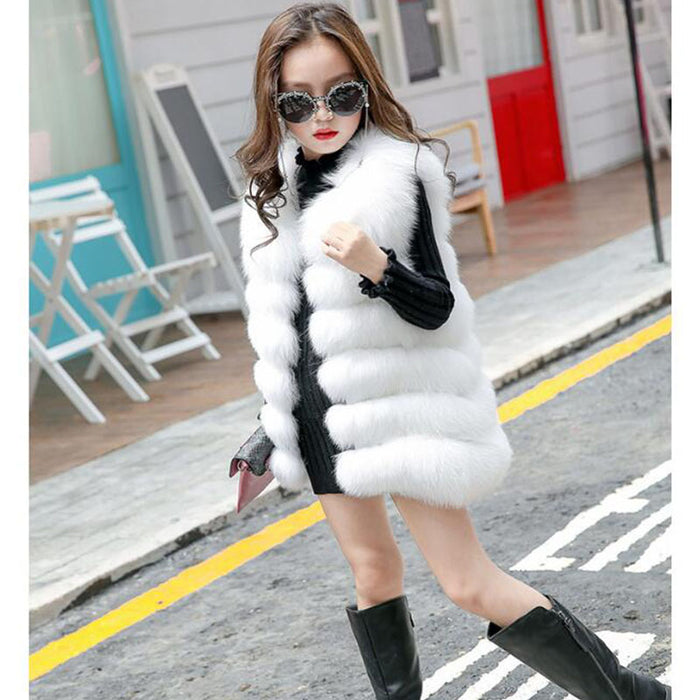 Children's Faux Fur Vest Girls High Imitation Artificial Fur Vest Luxury Jacket Princess Imitation Fox Fur Coat - KiddyLanes