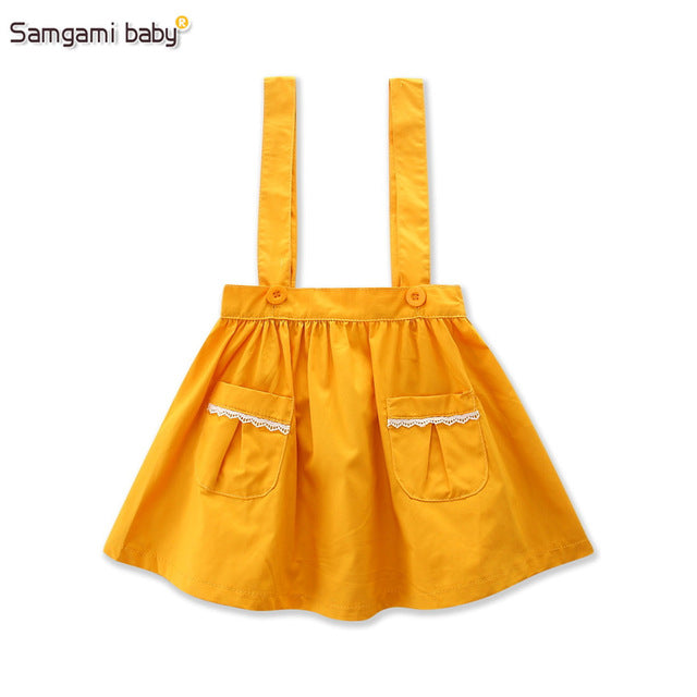 SAMGAMI BABY Deep Yellow Suspender Skirt for 1-5Y Girls,Photography Props,Comfortable Skirts kids Girls Clothes Novelty Style - KiddyLanes