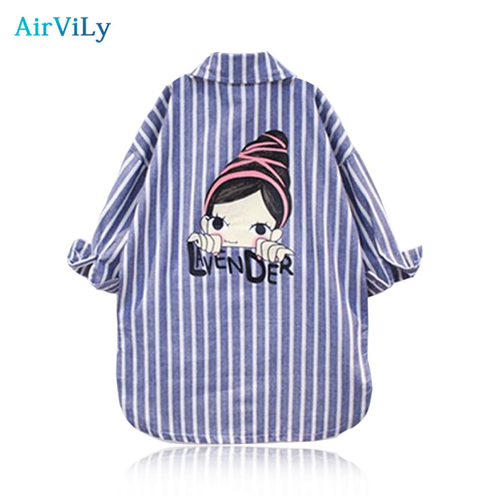 Baby Kids Girls Autumn Shirts Stripes Long Lapel Jacket Blouses Full Striped Tee Tops Outwear Outfits Blouse Children Clothing - KiddyLanes