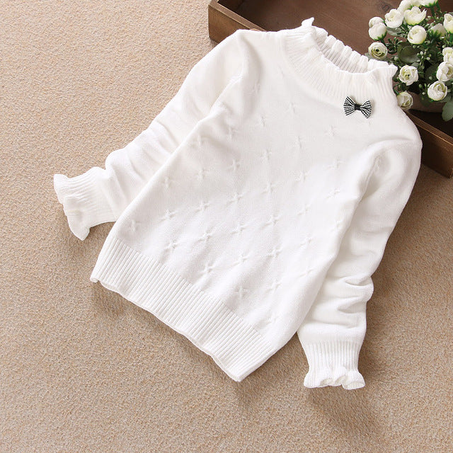 Spring Winter Children Clothing Girls Sweater Kids Knitted Sweaters Cute  Bow Outerwear Baby Girl Pullovers Age 1,14Y
