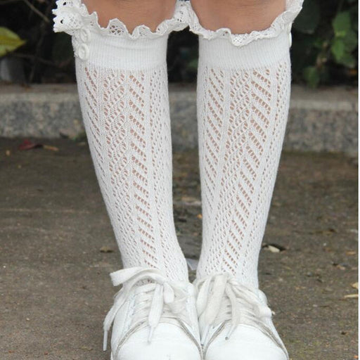 Children Crochet Leg Warmers Winter Warm Knitted Boot Socks Lace Trim Boot Cuffs Hollow Out Girls Boot Toppers Gaiters - KiddyLanes