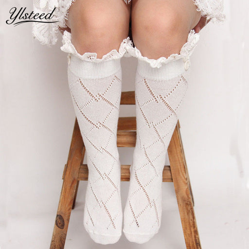 Fashion Baby Girls Leg Warmers Kids Knitted Boot Socks Buttons Children Lace Trim Rhombus Boot Cuffs - KiddyLanes