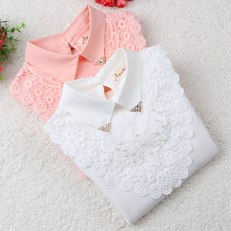Girls Blouse Spring Baby Girl Clothes Children Clothing School Girl Blouse Cotton Child Shirt Blusas Kids Clothes 2-14Y - KiddyLanes