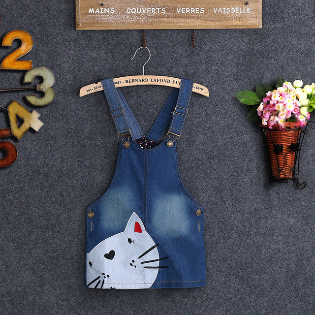 1 PC Baby Girls Clothes Cute Toddler Kids Cat Denim Overalls Dresses Braces Skirt Clothes 2-7Y - KiddyLanes