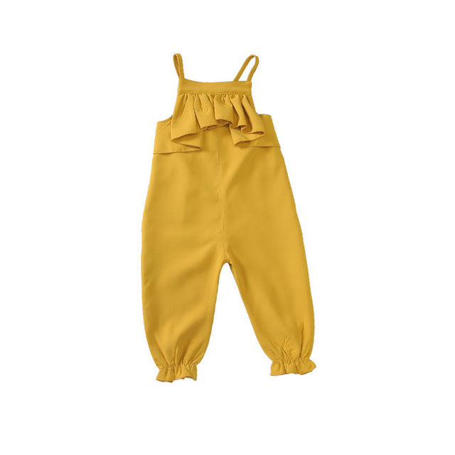Mihkalev autumn overalls for girls Jumpsuits Fashion yellow baby girl leisure pants kids pants children trousers costume - KiddyLanes