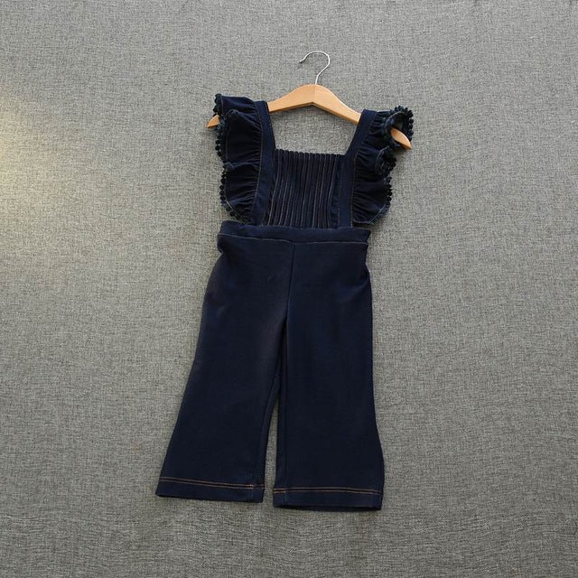Retail Spring Autumn New Girl Overalls Pants Flare Sleeve Ruffle Cotton One Piece Trousers Children Clothing 3-7T K9473 - KiddyLanes