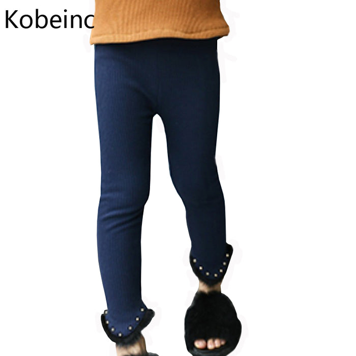 Kobeinc Fashion Beading Design Girls Leggings Winter Solid Color Warmed Pants For Kids Cotton All Match Children Clothing Autumn - KiddyLanes
