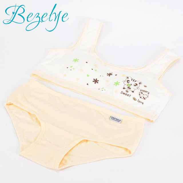 Sport Teenage Underwear Bra Set Cartoon Lingerie Kids Cotton Young Girls Training Bras Wireless Teenage Underwear Bra for Kids - KiddyLanes