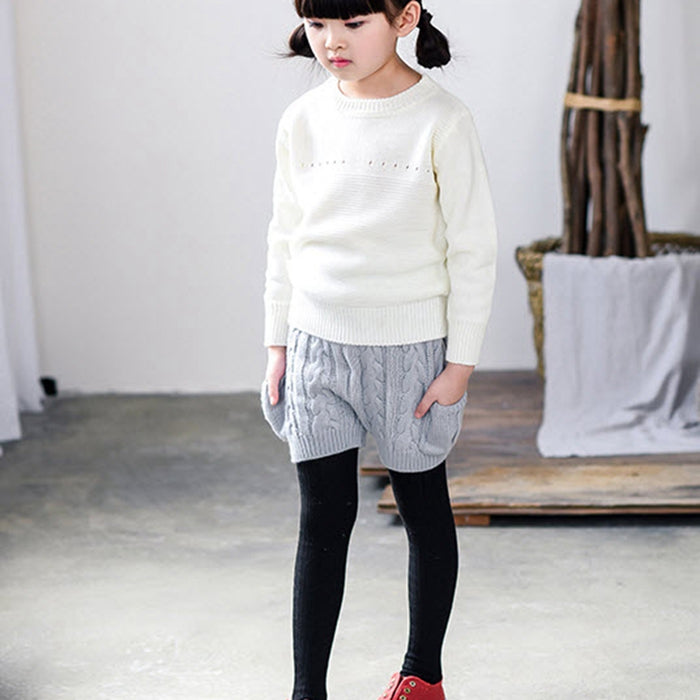 Kids Boys And Girls Shorts Cotton Knitted Pants Wool Jacquard Flower Pocket Classical Pants Wild Autumn Winter For 12M-5Y GL49 - KiddyLanes