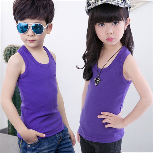 Children's clothes boys vests underwear solid cotton soft baby girl boy tanks for girls boy kids camisoles tank tops summer - KiddyLanes