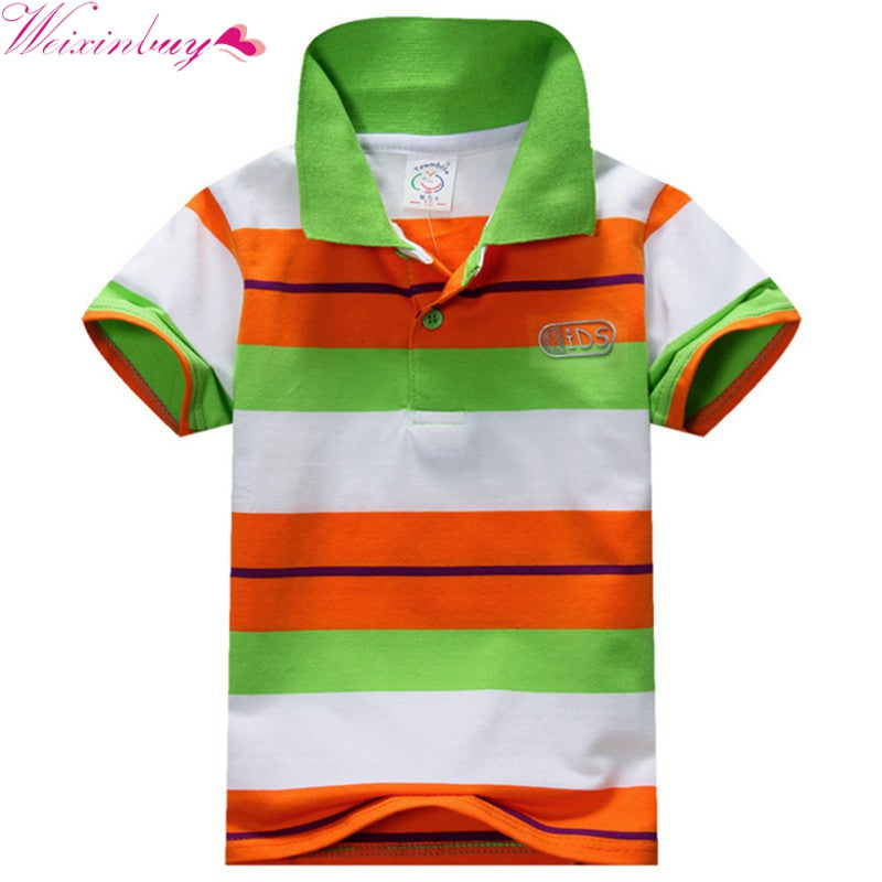 1ccca247 Kids Tops Striped Polo Shirt Tops Fashion Summer Baby Boys Short Sleeve T  Shirt - KiddyLanes