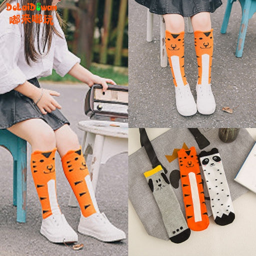 Children warmers ankle short lovely socks Cartoon Cute Kids Girl Knee High Socks cotton Baby Print Animal Over Knee Socks 1-6T - KiddyLanes
