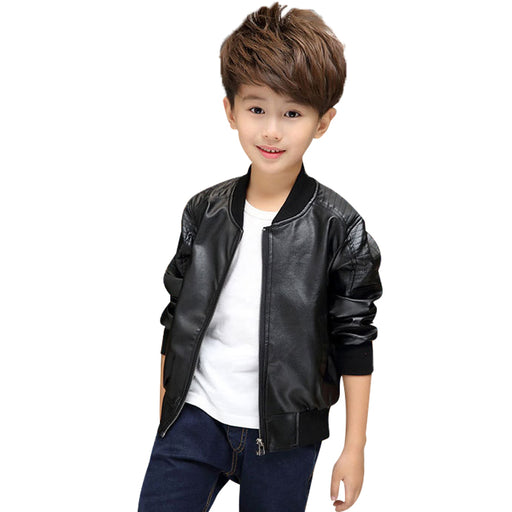 2-14YSpring, autumn Cool Kids Boys Leather Jacket Boys Fashion Children Outerwear Kids Girls Coats Leather Jackets black Brown - KiddyLanes