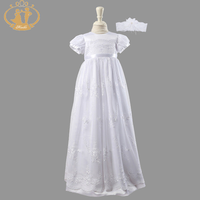 Nimble White newborns clothes Girl Baby Baptism Gown baby dress Christ