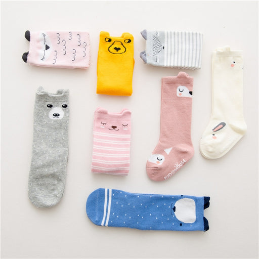 2-4 Years knee high sock Baby Girl Boy Socks anti slip Cute Cartoon Cat Fox leg warmers For newborns infant Warm Long Sock - KiddyLanes