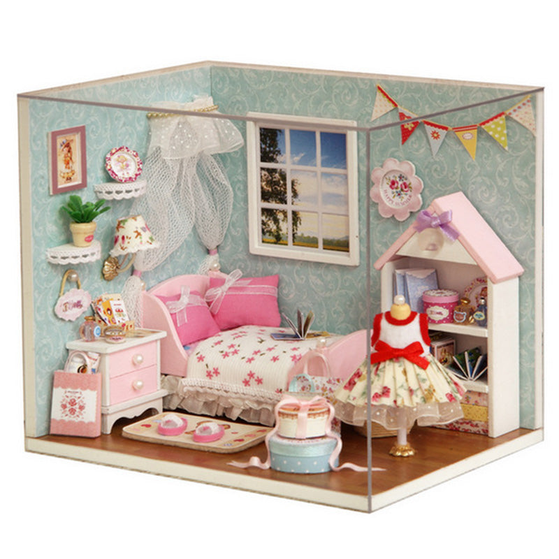 Dollhouse Room Diy Toy House Happy Little World Miniature Assemble Kits Lighting Miniature Dollhouse Handmade Wooden House Toy