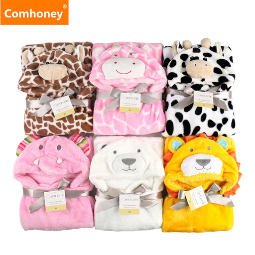 Baby Blanket Neonatal Hold Flannel 3D Hooded Blanket Swaddling For Toddlers Infant Envelope For Newborns Bathrobe Towel Comhoney - KiddyLanes
