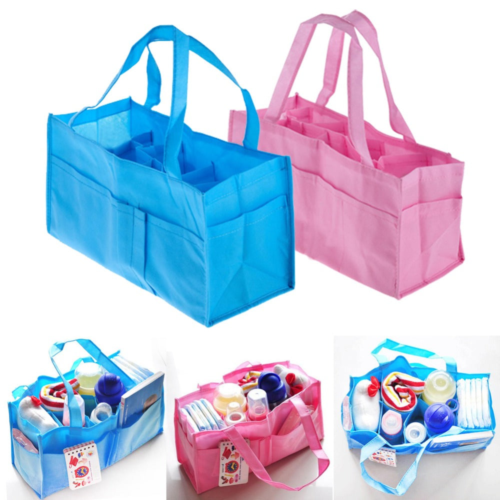 2 Colors Portable Baby Diaper Nappy Changing Bag Inserts Handbag Organizer Pouch Storage Inner Diapers Bottle Storage Mummy Bag - KiddyLanes