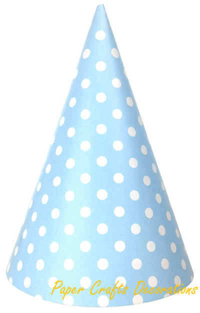12pcs/lot  20cm*13.3cm Baby Pink Polka Dots Party Paper Cone Hats Party Caps Girls Birthday Baby Shower Party Event Supplies - KiddyLanes