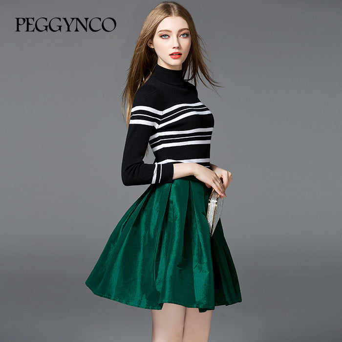 2018 Women Knitted Dress Round Neck Long Sleeve A-Line Black Striped Pullover Knitted Autumn Sweater - KiddyLanes
