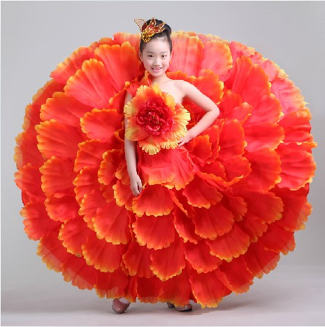 Children Flamenco Dance Costume Spanish Costumes Kids Flamenco Petal Dress Spanish Flamenco Dress Jude Flamenco - KiddyLanes