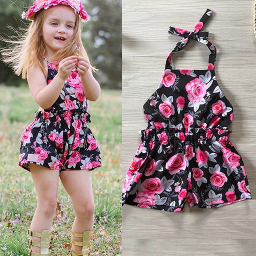 Newborn Baby Girls Floral Cotton Casual Sleeveless Overalls Jumpsuit Bodysuit Cute Baby Girls Outfits Clothes - KiddyLanes