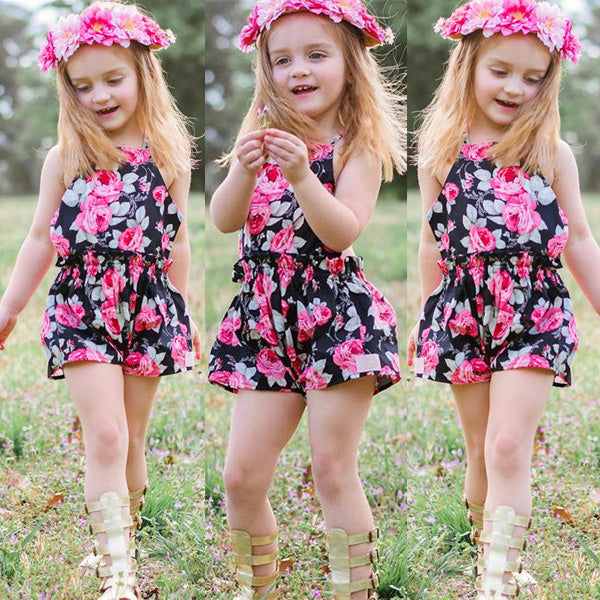 c717ee974 Newborn Baby Girls Floral Cotton Casual Sleeveless Overalls Jumpsuit B