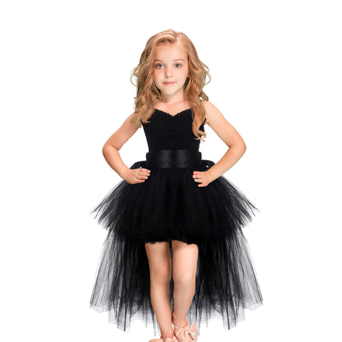 Black Girls Tutu Dress Tulle V Neck Train Birthday Evening Party