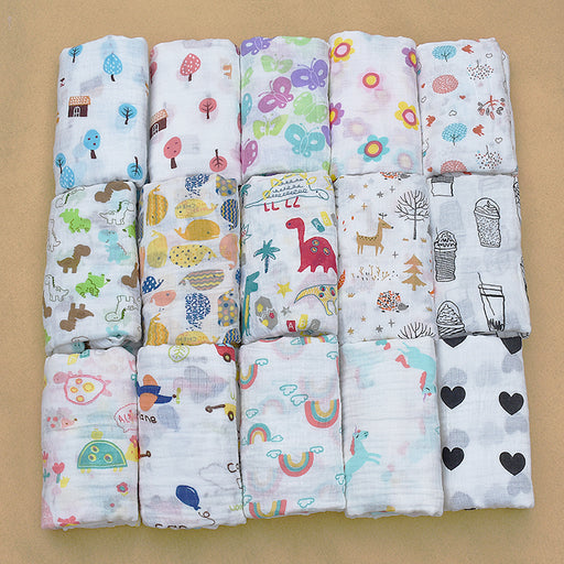 PINK SWAN 100%Muslin Cotton Blankets Dinosaur Unicorn Patterns Multi-use Newborn Swaddle Muslin Infant Gauze Both Towel Baby Warp - KiddyLanes