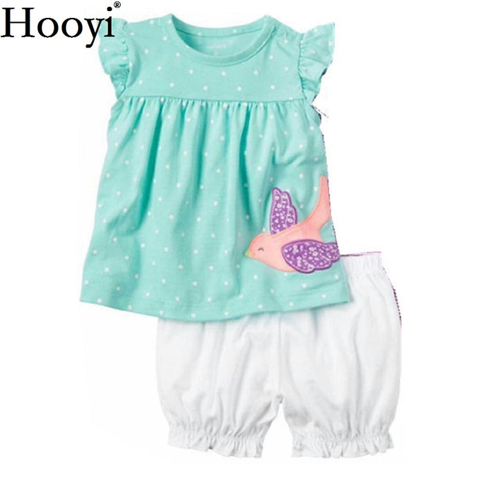 5b71c578 Fashion Baby Girls Clothes Suit Bird Cute Newborn Clothing Sets Toddler  T-Shirt Hot Shorts