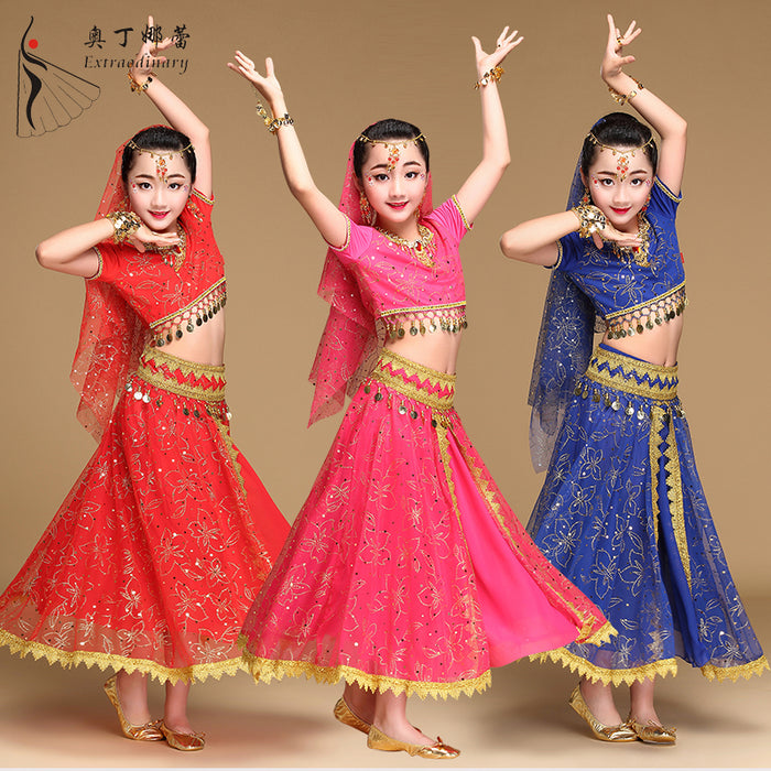 Girls Belly Dance Costume Outfit Top /& Skirt Kids Bollywood Halloween Costume UK