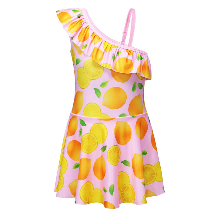 2d5c65553c Beach Dress Kids Swimsuit Baby Girls Swimwear One Piece with Lemon Pattern  for 4-9