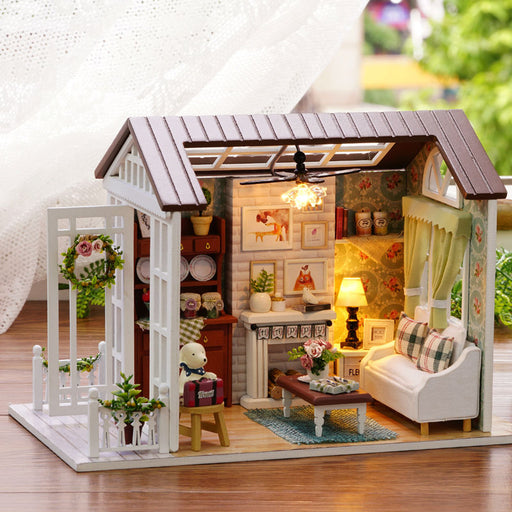 Dollhouse Diy 3D Casa De Boneca Miniature Doll House Model Building Kits Wooden Furniture Toys Birthday Gifts Happy Times Z008