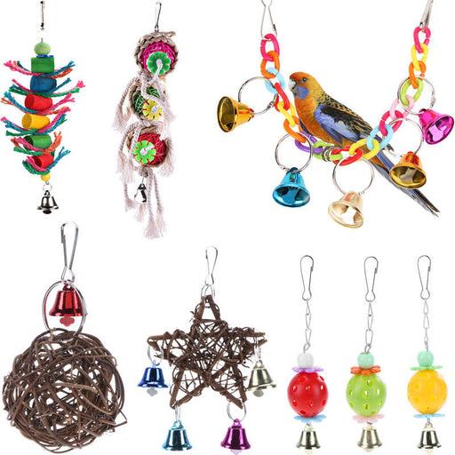 Lovely Rattan Ball Pet Parrot Bird Toys Chewing Climbing Swing Toys for Parrots Cage Stairs Windchimes Funny Bell Bird Play Toys - KiddyLanes