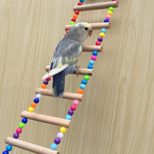 Birds Pets Parrots Ladders Climbing Toy Hanging Colorful Balls With Natural Wood - KiddyLanes