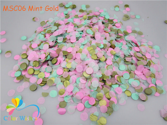 1cm 10g/pack Mixed Colors Metallic Rose Gold Circle Shaped Confetti Dots Filling  Balloons Event Baby Shower Wedding Decorations - KiddyLanes
