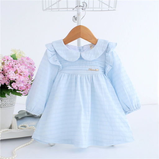 Spring A-line Peter Pan Collar Kids Baby Princess Dress Newborn Infant Baby Girls Party Dresses Baby Clothes 0-2T 2 Color - KiddyLanes