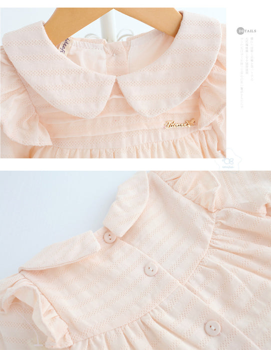 Newborn Baby Girls Warm Dress Cute Peter Pan Collar Floral Party Princess Dress Outfits Clothes