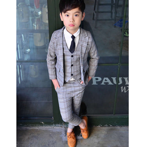 Boy Spring/summer Suit Three-piece Set Boy Plaid suit Jacket British Vest+coat+Pants suit Vestido Infantil - KiddyLanes
