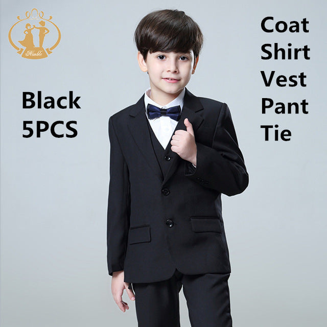 7a1bc73e931 5pcs Set Boys Suits For Weddings Kids Prom Suits Black Wedding Suits Kids  Blazers Boys