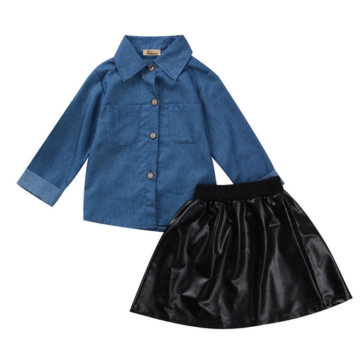 0-5Y Kids Toddler Baby Girls Autumn Denim Clothing Sets Jeans Blouse Tops Shirt+PU Leather Tutu Skirts Dress 2Pcs Outfits Set - KiddyLanes