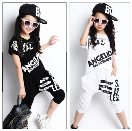 Summer 2018 Boys Girls Short Sleeve T-shirt & Harem Pants 2 PCs - KiddyLanes