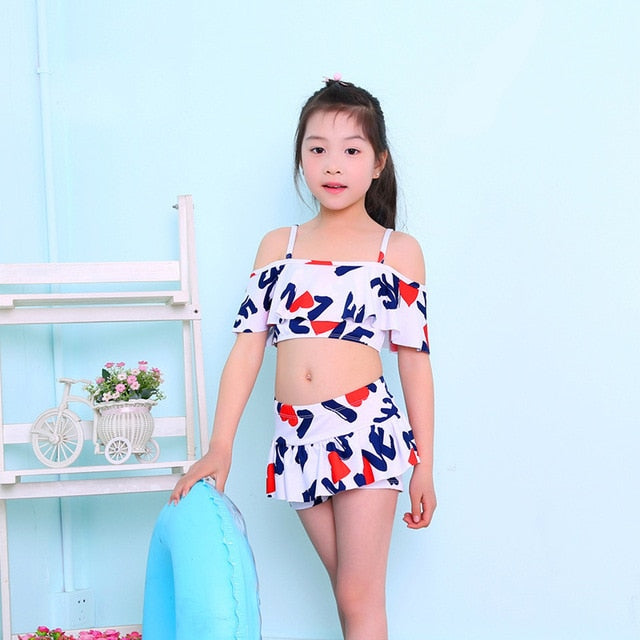 2 Pieces Bikini set For Girls Printed Polyester Beach Wear Hot Spring Bathing Suit